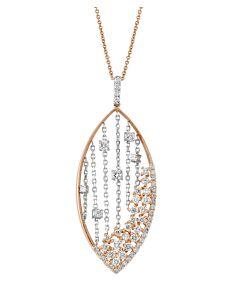 Two Tone Openwork Diamond Pendant