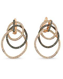 Rose Gold Interlocking Diamond Circles Earrings