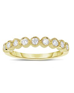 Yellow Gold Bezel Set Diamond Ring w/Milgrain