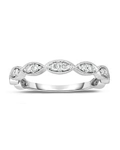 White Gold Marquise Shaped Band w/Milgrain