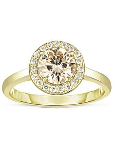 Cognac Halo Diamond Ring