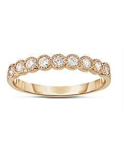 Rose Gold Bezel Set Ring w/Milgrain