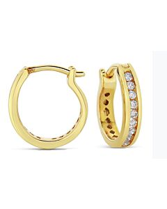 Quarter Carat Yellow Gold Diamond Hoop Earrings