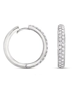 Half Carat Pave Diamond Hoop Earrings