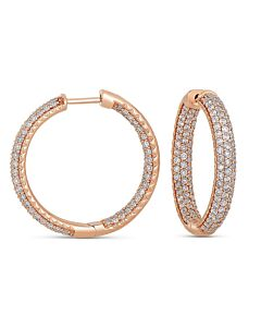 Rose Gold Pave In & Out Diamond Hoops