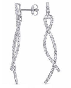 2 Inch Dangling Ribbon Diamond Earrings