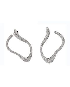 Pave Wave Diamond Hoop Earrings