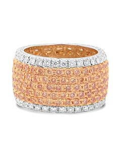 18k Wide Pink and White Diamond Band