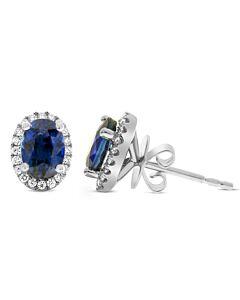 Oval Sapphire and Diamond Stud Earrings