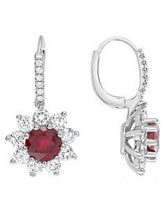 Ruby and Diamond Starburst Earrings