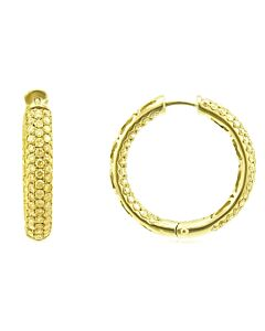 Pave Yellow Diamond Hoop Earrings