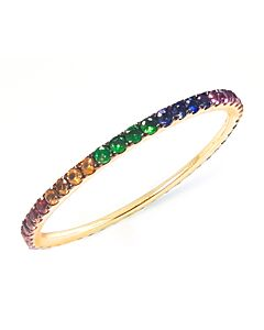 Slender Rainbow Gem Eternity Ring