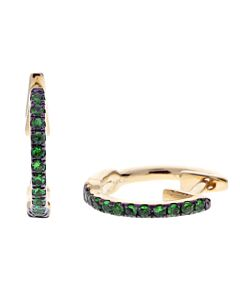 Petite Tsavorite Hoop Earrings