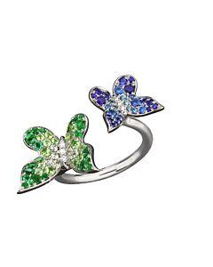 Multi Gemstone Butterfly Cuff Ring
