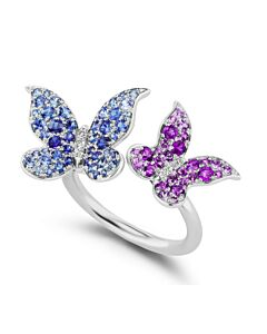 Sapphire & Amethyst Butterfly Cuff Ring