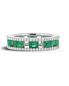 Open Frame Emerald and Diamond Ring