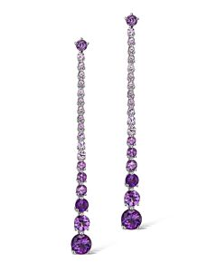 Amethyst and Pink Sapphire Dangling Earrings
