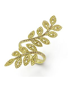 Fancy Color Diamond Leaves Ring