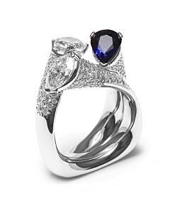 Sculpted Sapphire and Diamond Ring