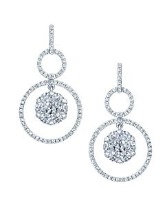 Dangling Diamond Hoop Earrings