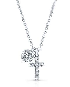 Darling Diamond Cross and Cluster Necklace