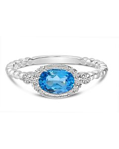 Blue Topaz and Diamond Stacking Ring
