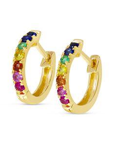 Rainbow Sapphire Hoop Earrings