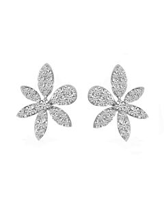 Assymmetrical Diamond Flower Earrings