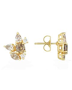 Fancy Shape Diamond Cluster Earrings
