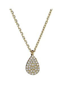 Petite Pear Shaped Diamond Necklace in Yellow