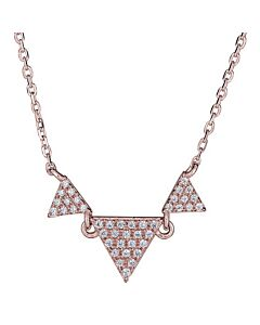 Triple Diamond Triangle Necklace in Rose