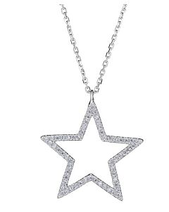 Large Diamond Star Outline Necklace