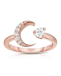 Rose Gold Moon and Star Ring