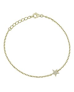 Petite Yellow Gold Chain Bracelet with Pave Star