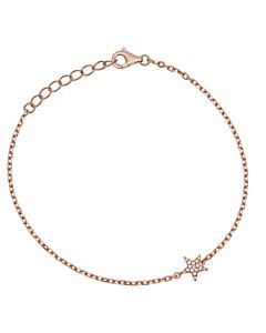 Petite Rose Gold Chain Bracelet with Pave Star