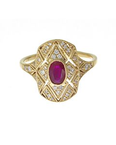 Filigree Ruby and Diamond Ring
