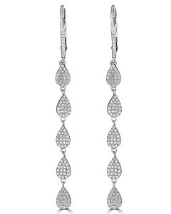 Pave Pear Shaped Diamond Earrings
