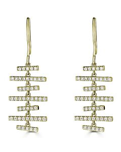 Dangling Diamond Bar Earrings in Yellow