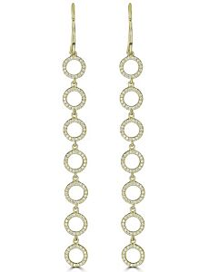 Diamond Circle Earrings in Yellow Gold