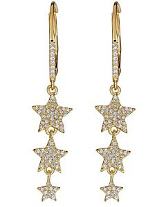 Triple Star Drop Earrings in Yellow