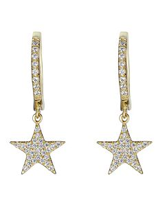 Diamond Star Dangle Earrings in Yellow
