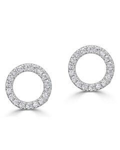 Petite Circle Stud Earrings with Diamonds