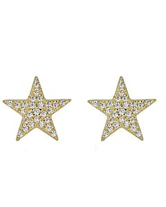 Pave Star Stud Earrings in Yellow