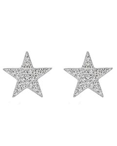 Pave Star Stud Earrings in White