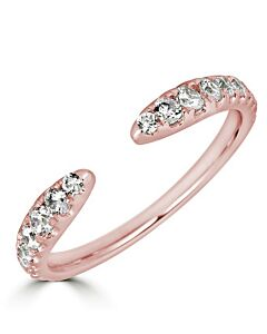 Graduated Diamond Cuff Ring in Rose