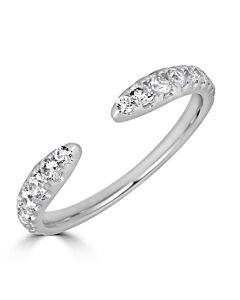 Graduated Diamond Cuff Ring in White