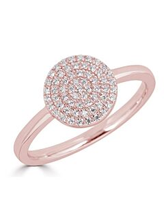 Pave Diamond Circle Ring in Rose