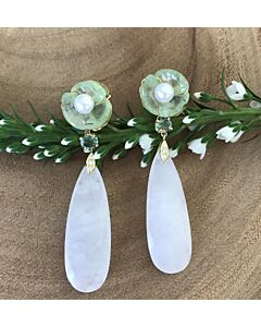Carved Prehnite and White Agate Earrings