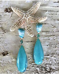 Opalized Wood and Emerald Earrings