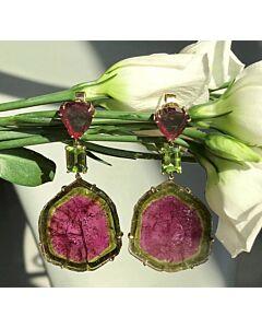 Watermelon Tourmaline Dangling Earrings